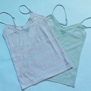 2 American Eagle Tanks! Cream and Pale Pink
